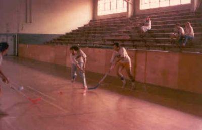 ZBT street hockey practice with Jerry Keen '84, Bill Cleary '82 and Dan Muller '85, Jane Gasser and Paul Dariano '82 in the stands (early 1980s, donated by Bill Fairchild '82)