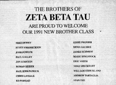 Technique ad announcing ZBT new brother class (10-18-91)