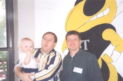 2002 Homecoming- Mike MacLellan and Doug Bodner. Mike is holding new son Ian