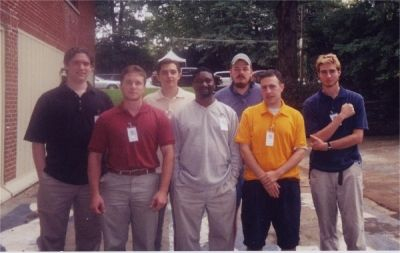 ZBT interest group members gather at the house for 2002 Homecoming festivities