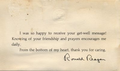Thank you note from President Reagan sent in acknowledgment of the getwell card that ZBT sent to him following the attempt on his life 1981